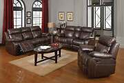 Brown Baseball Stitch Faux Leather Reclining Sofa And Loveseat Furniture Set