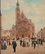 Emile Bare French 19th Century Oil Painting On Panel Cityscape Paris