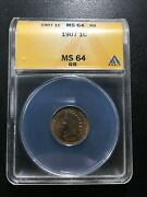1907 Indian Head Penny Anacs Ms-64 Rb - Uncirculated Indian Cent - Certified -1c