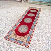 Yilong 2.5and039x9and039 Handknotted Silk Rug Hallway Runner Home Medallion Carpet Tj189a