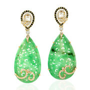 Carved Green Jade Dangle Earrings 0.91ct Pave Diamond 18k Yellow Gold Jewelry