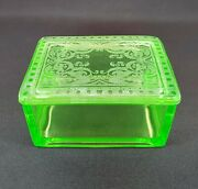 Cambridge Glass Co. Covered Trinket Box - Etched 704 Light Emerald Green 1927