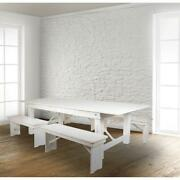 Hercules Series 8and039 X 40 Antique Rustic White Folding Farm Table And Four 40...