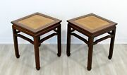 Mid Century Modern Pair Sculptural Oriental Wood And Cane Side End Tables