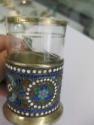 Russian Imperial 84-silver Enameled Glass Holder