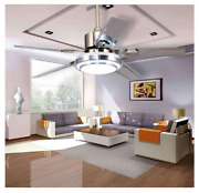 52 Ceiling Fan Lamp Light Chandelier Control Remote Stainless Steel Home New