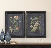 Two New 33 Aged Black Wood Framed Prints Under Glass Wall Art Floral Pictures