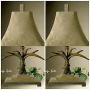 Two Xxl 32 Faux Natural Color Deer Horn Antler Table Lamp Palomino Suede Shade