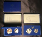 1986 Liberty Silver Dollar Proof Set And Uncirculated Set Two Sets Boxes And Coa