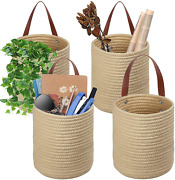 Tomcare 4 Pack Hanging Baskets Wall Basket 7.9 X 6.7 Small Woven Storage Baske
