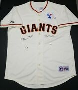 Barry Bonds And Willie Mays Signed Sf Giants Majestic Offwhite Jersey Sz Xl. Holo