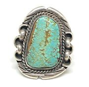 No 8 Sterling Silver Turquoise Number Eight Southwest 925 Ring Vintage Size 9