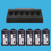 Multi-unit Charger + 6x Battery For Motorola Mototrbo Xpr7550 Dp4800