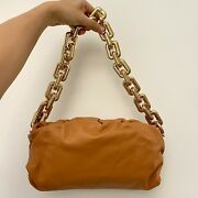 Authentic Bottega Veneta The Chain Pouch Clay Brown Gold Pouch With Chain