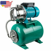 1hp 750w Shallow Well Jet Pump And Pressure Tank 740gph Stainless Steel Jet Pump