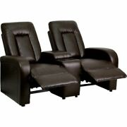 Eclipse Series 2-seat Push Button Motorized Reclining Brown Leather Theater