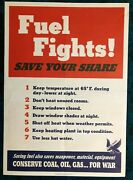 Wwii Ww2 Original War Poster Fuel Fights Save Coal Oil Gas Home Front Military