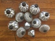 12 Large Kugel Style Silver Speckle Ribbed Mercury Glass Christmas Ornaments Mix