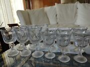 Set 12 Heavy Vintage Pressed Glass Water And Wine Goblets