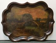 Mid 19th Century French Landscape Bridge Over River Scene Hand Painted Tole Tray