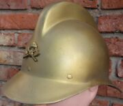 Bolivian Fireman Pompier Golden Reinforced Aluminium 1930and039s Officerand039s Helmet