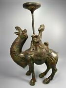 Old China Bronze Ware Camel Desert Ship People Candle Holder Candlestick Statue
