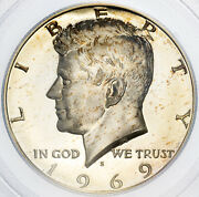 1969-s Kennedy Half Dollar Pcgs Pr67 Dcam Proof Silver Natural Toned Color Bu