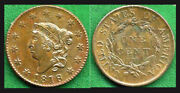 1818 1c-brown Toning With Slight Mint Red-cornet Head Large Cent++