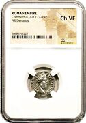 Ancient Roman Emperor Commodus Silver Coin Ngc Certified Vf And Storycertif