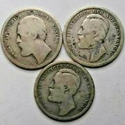 Sweden 1 Krona Lot 1875 1877 1880 Rare, Old Silver Coins In Holders -investment