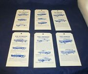 Lot Of 6 Vintage Car Dealership Mirror Tags Identification Features 1957 1958