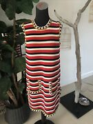 Auth. Cotton Striped Crochet Blue/red/ivory Dress M New