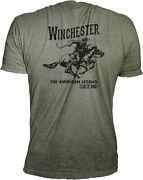 Winchester Official Menand039s Vintage Rider Graphic Printed Short Sleeve T-shirt