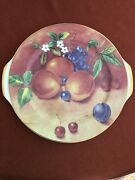 Limoges France Cake Plate / Server Gold Rim Fruit And Flowers A Beauty