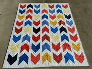 Newprimary Colors Lap Patchwork Quilt-54 X 68 Which Direction-arrows Blue Red