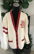 """Auth. Embroidered """"far Better Not""""red White Wool Sweater Cardigan Xl New"""