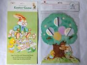 2 Vtg 1988-9 American Greetings Bloomer Bunny Easter Game Honeycomb Decoration