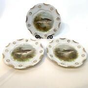 Set Of 3 Antique Collectible Trout Plates - Unmarked