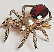 Victorian Diamond Spider Brooch Pearl And Garnet Gold And Silver