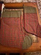 Tea Cabin And Tea Star Victorian Heart Christmas Stockings, Two Lg, Two Sm. New