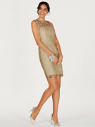 Adrianna Papell Illusion Lace Sheath Dress Sz 4 Champagne Nwt From Dillards