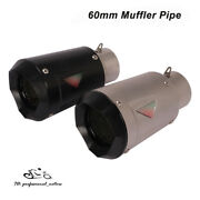 60mm Motorcycle Atv Exhaust Muffler Tail Pipe Escape Tips Universal Short 195mm