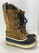 Sorel Joan Of Arctic Knit Ii 2 Womens Snow Boot Size 7.5 Brown Leather