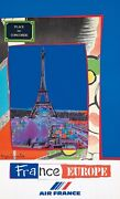 Original Vintage Poster Air France Travel Bezombes France Europe Eiffel Tower
