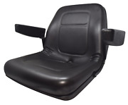 High Back Lawn Mower Seat W/ Armrests Black Agco Allis Chalmers And Ariens