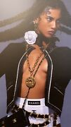 Vintge 1970s Gold Plated Coco Circle Pendant Chain Link Necklace