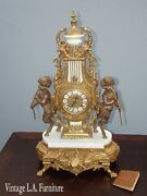 Antique Brass Ornate Mantle Clock With Cherubs And Marble Base By Imperial