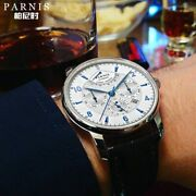 Parnis 43mm Automatic Watch Moon Phase Power Reserve Watch Men Luxury Brand Top