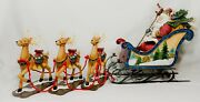 Rare Vintage Father Christmassanta Sleigh And Enamelled Reindeer Table Decoration