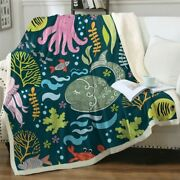 Fish Octopus Whale Coral Ocean Sherpa Plush Throw Blanket Fleece Bed Sofa Couch